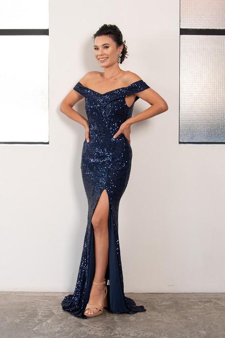 Kendall Sequins Off Shoulder Split Mermaid Formal Dress in Navy
