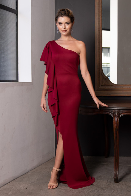 Leslie One Shoulder Ruffles Split Formal Dress in Burgundy