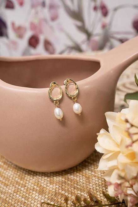 Calla Gold & Pearl Bridal Earrings