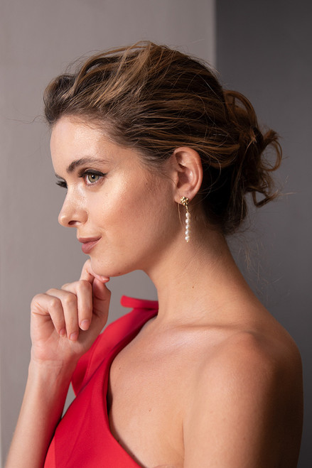 Jemma Gold and Pearl Bridal Earrings
