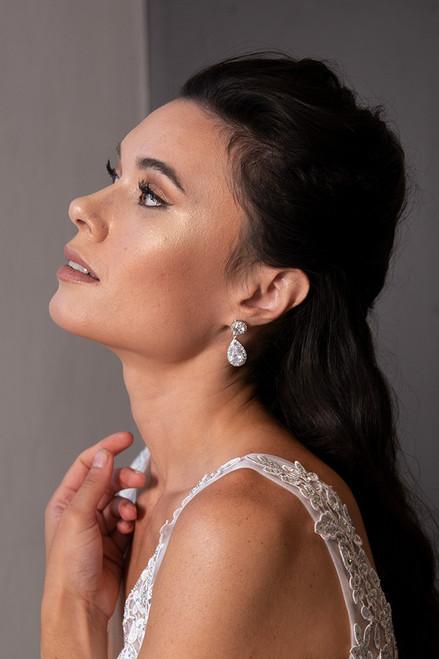 Liana Crystal Bridal Earrings in Silver