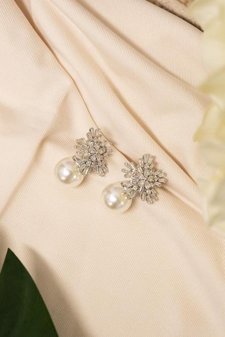 Mika Crystal & Pearl Bridal Earrings