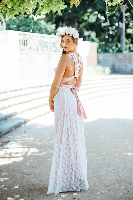 Detachable Lace Overlay Skirt in Ivory  - Multiway Dresses