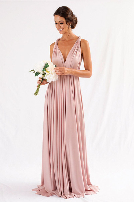 Luxe Satin Ballgown Multiway Infinity Dress in Blush Pink
