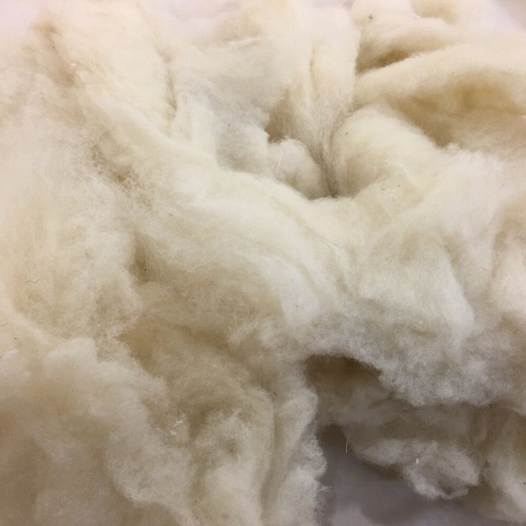 Wool pieces for stuffing.