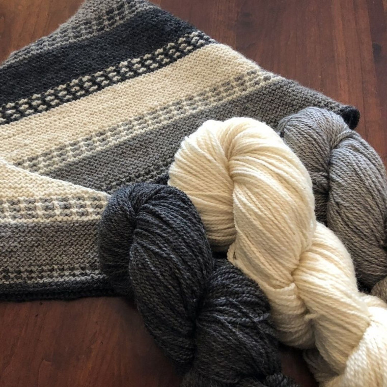 Natural Color Three Skein Yarn Kit - Used charcoal gray, white and light gray for the sample.