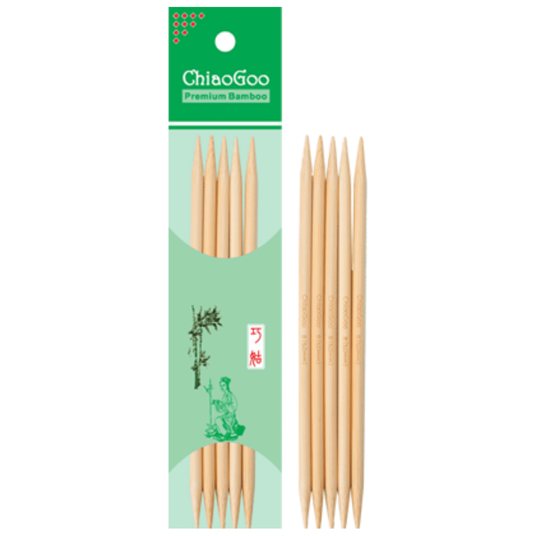"6"" ChiaoGoo Bamboo Double Point Knitting Needles"