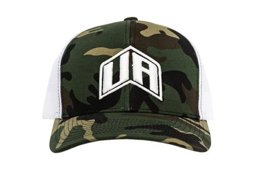 UA Trucker Style Hat - Camo w/ White Logo