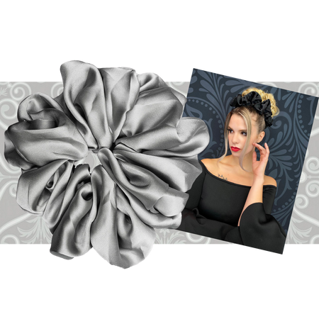 """PINK PEWTER Luxe """"Oversized"""" Plush Scrunchie (Iced)"""