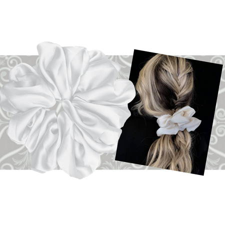 """PINK PEWTER Luxe """"Oversized"""" Plush Scrunchie (Pearl)"""