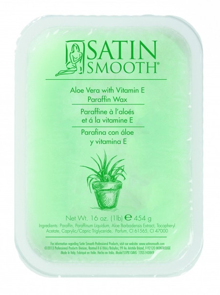 SATIN SMOOTH PARAFFIN WAX ALOE VERA WITH VITAMIN E 1 LB.