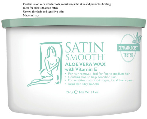 SATIN SMOOTH ALOE VERA WAX WITH VITAMIN E 14 OZ.