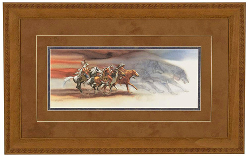 """Bev Doolittle """"Wolves of the Crow"""" Matted and Framed WSS L/E"""