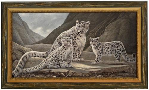 """Charles Frace """"Kinship"""" Snow Leopard Canvas Framed Signed & Numbered L/E"""