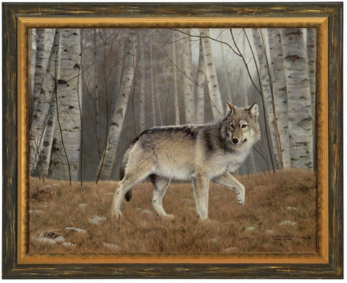 """Charles Frace """"Watchful"""" Grey Wolf Canvas Framed Signed & Numbered Artist Proof"""