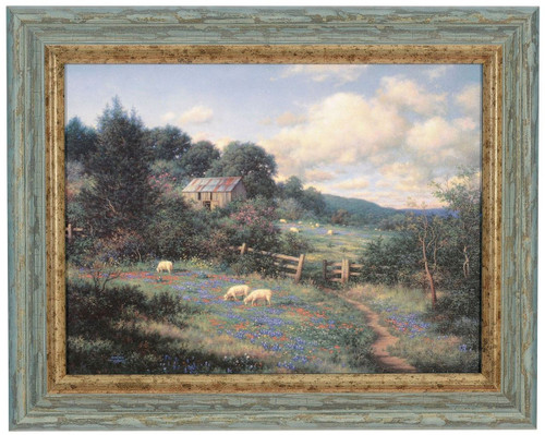 "Larry Dyke ""The Gate"" Sheep Canvas Framed O/E"