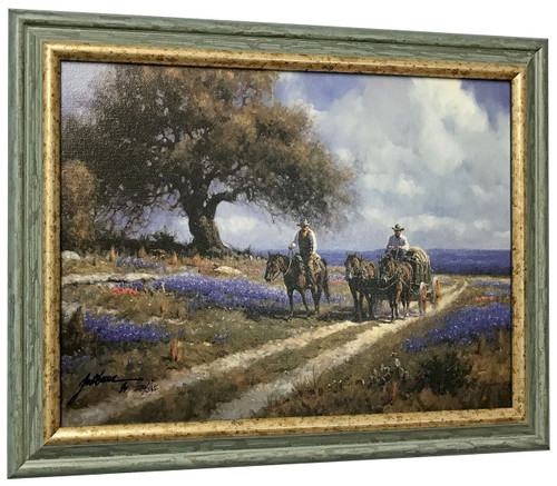 "Martin Grelle ""Sweet Smell of Spring"" Cowboy Canvas Framed L/E Signed & Numbered"