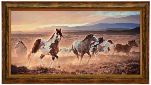"""Nancy Glazier """"Domino"""" Horses Canvas Framed L/E Signed & Numbered"""