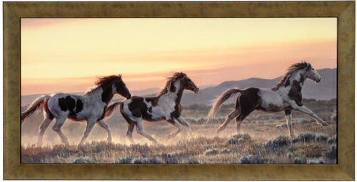"""Nancy Glazier """"Early Morning Run"""" Horses Canvas Framed L/E Signed & Numbered"""