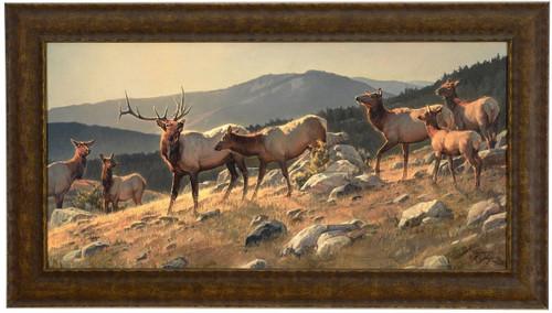 "Nancy Glazier ""High Country"" Elk Canvas Framed L/E Signed & Numbered"