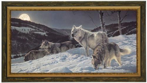 "Nancy Glazier ""Hunter's Moon"" Wolves Canvas Framed L/E Artist Proof"
