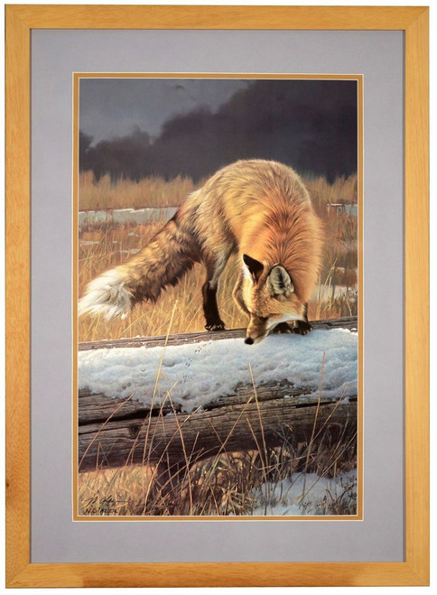 """Nancy Glazier """"Out for Lunch"""" Red Fox Paper Print Framed L/E Signed & Numbered"""