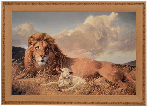 "Nancy Glazier ""Peace & Harmony"" Lion and Lamb Canvas Framed O/E"