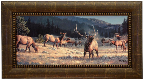 """Nancy Glazier """"Rocky Mountain Meadow"""" Elk Canvas Framed Signed & Numbered L/E"""