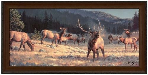 "Nancy Glazier ""Rocky Mountain Meadow"" Elk Canvas Framed S/N Limited Edition"