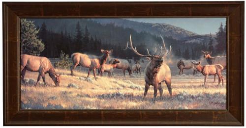 "Nancy Glazier ""Rocky Mountain Meadow"" Elk Canvas Framed Limited Edition S/N"