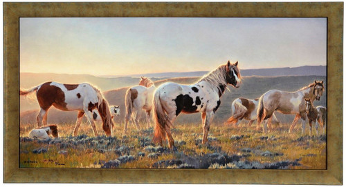 """Nancy Glazier """"Welcome the Dawn"""" Horses Canvas Framed Signed and Numbered L/E"""