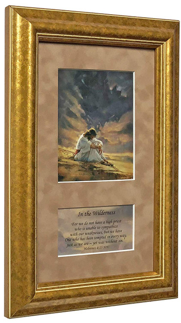 """Ron DiCianni """"In the Wilderness"""" Jesus Christ Matted & Framed Art Print O/E"""