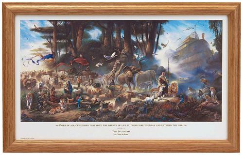 "Tom duBois ""The Invitation"" with Scripture Noah's Ark Framed Art Print Signed O/E"
