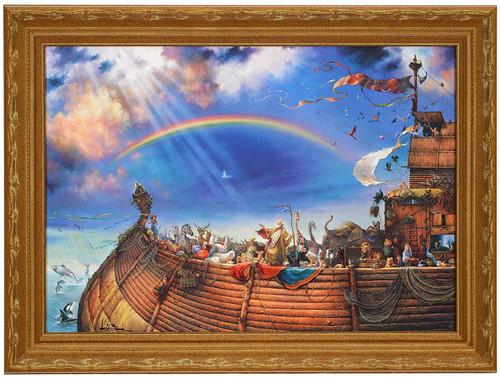 """Tom duBois """"The Promise"""" Noah's Ark Canvas Framed Art Print Signed"""