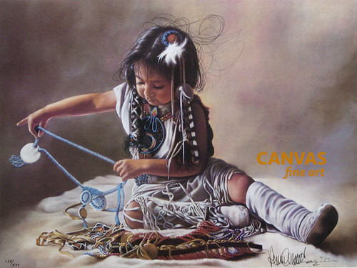 """Penni Anne Cross """"Sorting Her Beads"""" Native American Canvas Art Signed & Numbered L/E"""