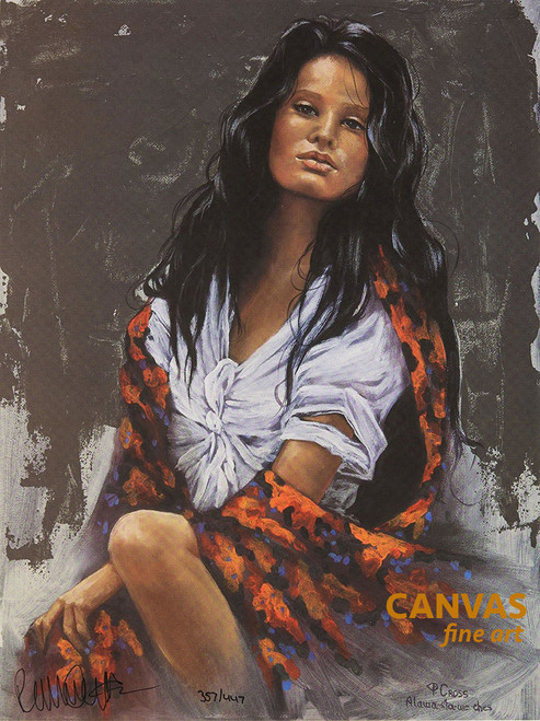 """Penni Anne Cross """"Floral Shaw"""" Native American Canvas Art Signed & Numbered L/E"""
