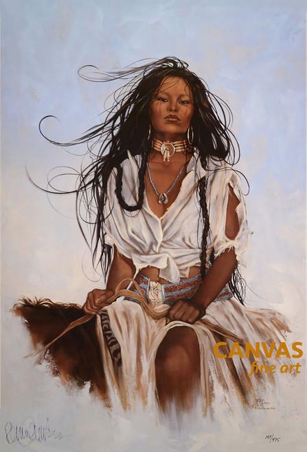 "Penni Anne Cross '""Half Breed I Ach-hua-dlubh"" Native American Canvas Art Signed & Numbered L/E"