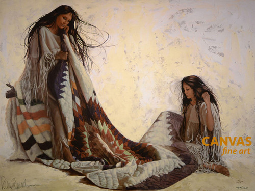 """Penni Anne Cross """"Quilt Makers"""" Native American Canvas Art Signed & Numbered L/E"""
