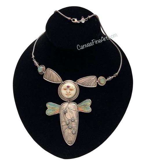 TABRA Necklace with Carved Bone Bug Goddess Pendant Sterling Silver