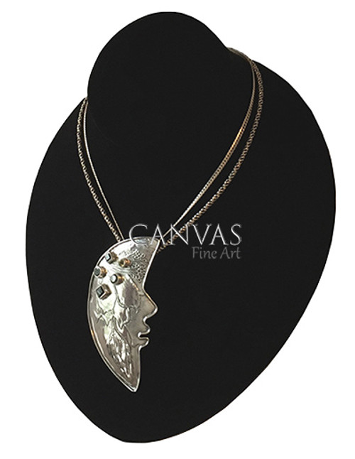 TABRA Sterling Silver Half Moon Pendant Set with Green Quartz and Peridot