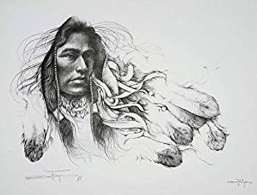 Ozz Franca 'Young Brave' American Indian A/P Art Print L/E