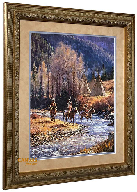 Martin Grelle 'Winter Camp' Art Print Framed O/E