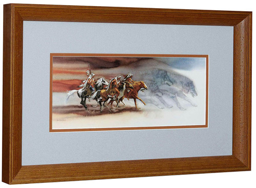 """Bev Doolittle """"Wolves of the Crow"""" American Indian with Horse Matted & Framed"""
