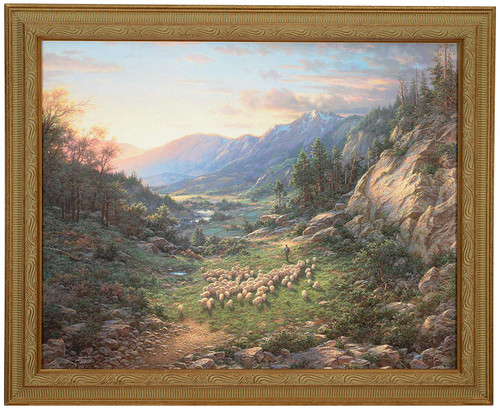 "Larry Dyke ""The Good Shepherd"" Sheep Canvas Framed L/E Signed & Numbered"