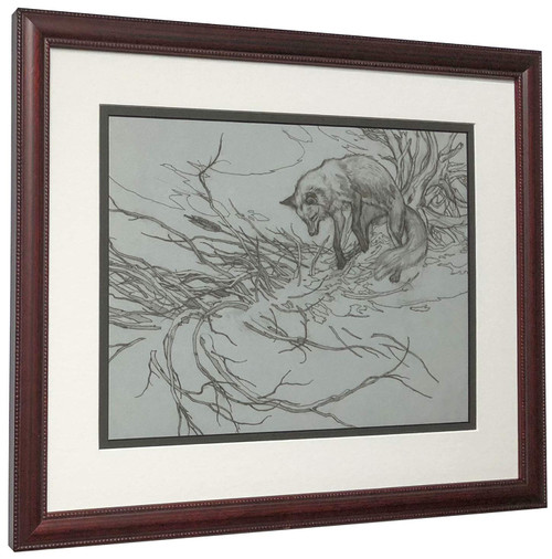 "Bev Doolittle ""Missed Line Drawing"" Fox - Matted & Framed Fine Art Print"
