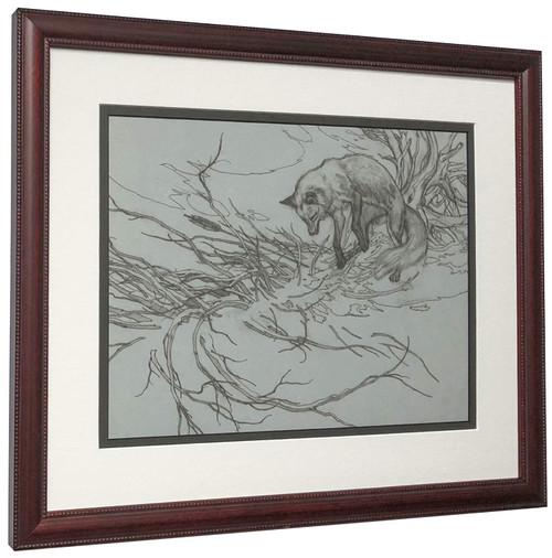 """Bev Doolittle """"Missed Line Drawing"""" Fox - Matted & Framed Fine Art Print"""