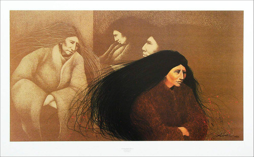 """Frank Howell """"Standing Rock Woman"""" Native American Indian Canvas Signed and Numbered"""
