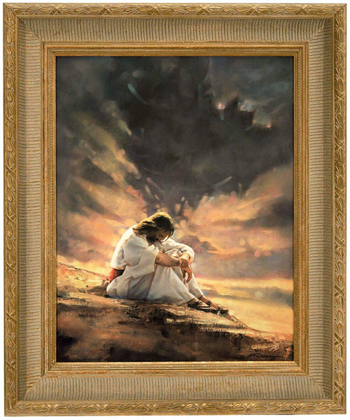 "Ron DiCianni ""In the Wilderness"" Jesus Christ Canvas Framed Art"