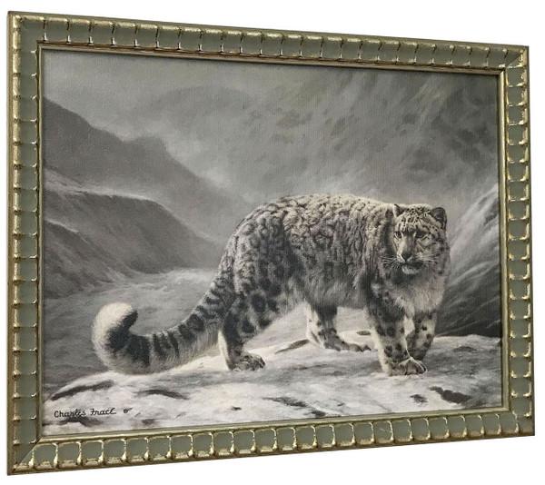 "Charles Frace ""Snow Leopard"" Canvas Framed"