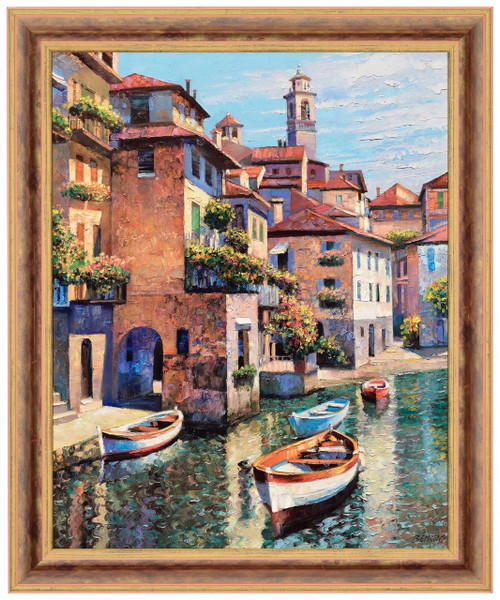 Howard Behrens 'Hidden Cove Lake Como' Canvas Framed L/E Signed & Numbered